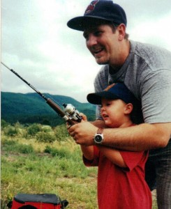 dad and boy fishing