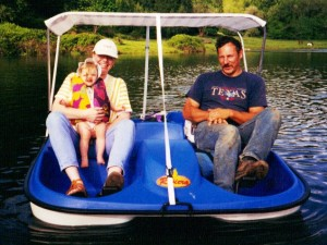 dad pedal boating